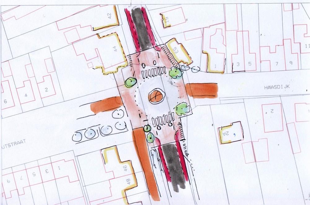 Schets wegvlak - werkbare straatinrichting